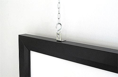 アルミフレームスクリーンの吊り下げ方法